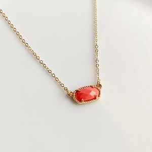 NEW Small Oval Necklace (gold + coral)